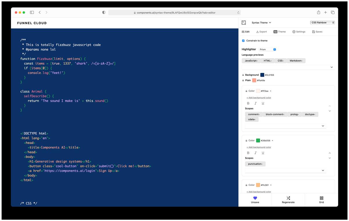 Screenshot of syntax highlighting theme generator